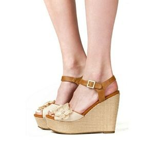 Pink & Pepper Shoes - Pink & Pepper Canvas and straw Espadrille Wedge